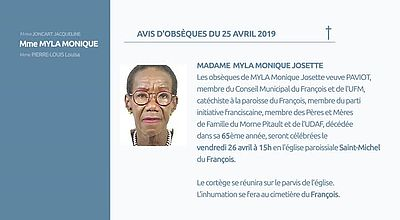 AVIS D'OBSEQUES 25 AVRIL 2019