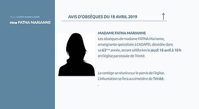 AVIS D'OBSEQUES  18 AVRIL 2019