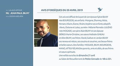 AVIS D'OBSEQUES 20 AVRIL 2019