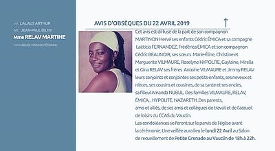 AVIS D'OBSEQUES 22 AVRIL 2019