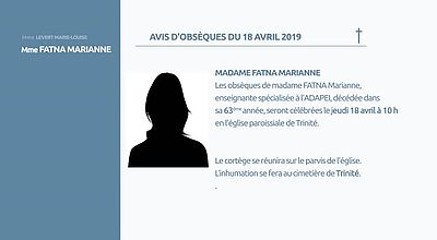 AVIS D'OBSEQUES 19 AVRIL 2019