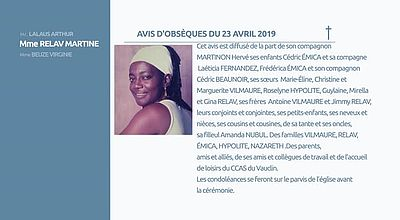 AVIS D'OBSEQUES  24 AVRIL 2019